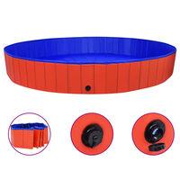 vidaXL Zložljiv bazen za pse rdeč 300x40 cm PVC
