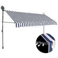 vidaXL Ročno zložljiva tenda z LED lučmi 350 cm modra in bela