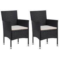 vidaXL Vrtni jedilni stoli 2 kosa poli ratan črne barve