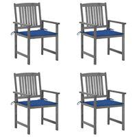 vidaXL Režiserski stoli z blazinami 4 kosi sivi trden akacijev les