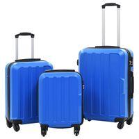vidaXL Trdi potovalni kovčki 3 kosi modri ABS