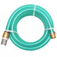 vidaXL Sesalna cev z medeninastimi nastavki 3 m 25 mm zelene barve