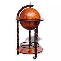 vidaXL Barsko stojalo za vino v obliki globusa les evkaliptusa