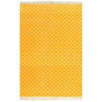 vidaXL Kilim preproga iz bombaža z vzorcem 120x180 cm rumena