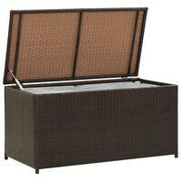 vidaXL Vrtna škatla za shranjevanje poli ratan 100x50x50 cm rjava