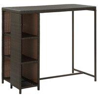 vidaXL Barska miza s stojalom za shranjevanje rjava 120x60x110 cm