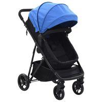 vidaXL Otroški voziček 2 v 1 moder in črn jeklo