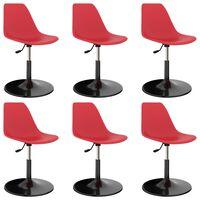 vidaXL Vrtljivi jedilni stoli 6 kosov rdeči PP