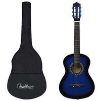 """vidaXL Klasična kitara za začetnike in otroke s torbo modra 1/2 34"""""""