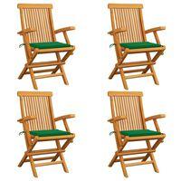 vidaXL Vrtni stoli z zelenimi blazinami 4 kosi trdna tikovina