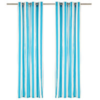 vidaXL Zavese s kovinskimi obročki 2 kosa blago 140x225 cm modre črte