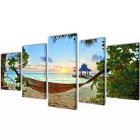 Set platen s printom peščene plaže in mreže 100 x 50 cm