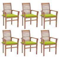 vidaXL Jedilni stoli 6 kosov s svetlo zelenimi blazinami tikovina