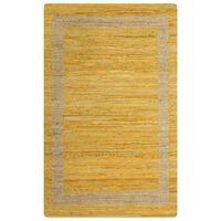 vidaXL Preproga iz jute ročno izdelana rumena 160x230 cm