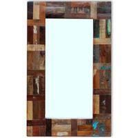 vidaXL Ogledalo iz trdnega predelanega lesa 80x50 cm