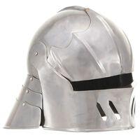 vidaXL Srednjeveška viteška čelada starinska kopija LARP srebrno jeklo