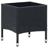 vidaXL Vrtna miza črna 40x40x45 cm poli ratan