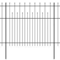 vidaXL Varnostna palisadna ograja koničasta jeklo 600x175 cm črna