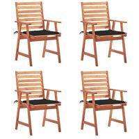 vidaXL Zunanji jedilni stoli 4 kosi z blazinami trden akacijev les