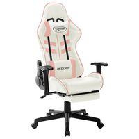 vidaXL Gaming stol belo in roza umetno usnje
