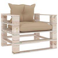 vidaXL Vrtni kavč iz palet z bež blazinami borovina