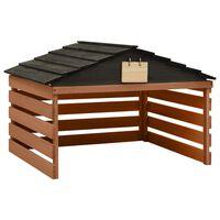 vidaXL Garaža za robotsko kosilnico črna in rjava 78x74x54 cm lesena