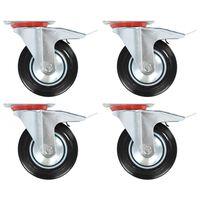 vidaXL Gibljiva kolesa z dvojnimi zavorami 4 kosi 160 mm