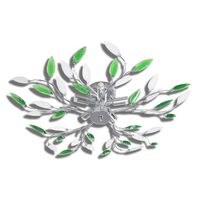 Zeleno/Bela Stropna Svetilka z Akrilnimi Kristalnimi Listi 5 x E14