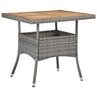 vidaXL Zunanja jedilna miza siv poli ratan in trden akacijev les