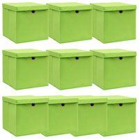 vidaXL Škatle za shranjevanje s pokrovi x 10 zelene 32x32x32 cm blago