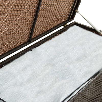 vidaXL Vrtna škatla za shranjevanje poli ratan 200x50x60 cm rjava