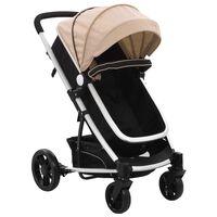 vidaXL Otroški voziček 2 v 1 taupe in črn aluminij