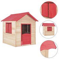 vidaXL Otroška igralna hišica iz lesa jelke rdeča