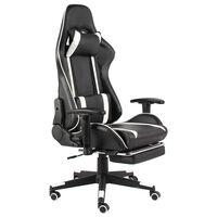 vidaXL Vrtljiv gaming stol z naslonjalom za noge bel PVC