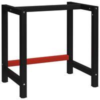 vidaXL Kovinski okvir za delovno klop 80x57x79 cm črn in rdeč