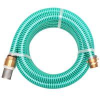 vidaXL Sesalna cev z medeninastimi nastavki 7 m 25 mm zelene barve