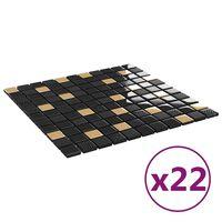 vidaXL Samolepilne mozaik ploščice 22 kosov črne in zlate 30x30 cm