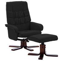 vidaXL Naslanjač s stolčkom za noge črno umetno usnje