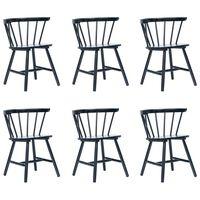 vidaXL Jedilni stoli 6 kosov črni trdni kavčukovec