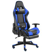 vidaXL Swivel Gaming Chair with Footrest Blue PVC