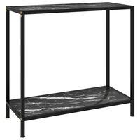 vidaXL Konzolna mizica črna 80x35x75 cm kaljeno steklo