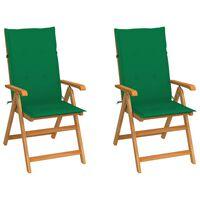 vidaXL Vrtni stoli 2 kosa z zelenimi blazinami trdna tikovina