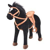 vidaXL Stoječi konj iz pliša črne barve