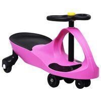 vidaXL Otroški vrtljiv avtomobil s hupo roza barve