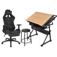 vidaXL Risalna miza z nagibno površino in pisarniškim stolom
