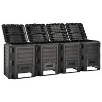 vidaXL Vrtni kompostnik črn 1600 L