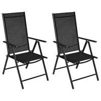 vidaXL Zložljivi vrtni stoli 2 kosa aluminij in tekstil črne barve