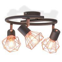 vidaXL Stropna svetilka s 3 LED žarnicami z žarilno nitko 12 W