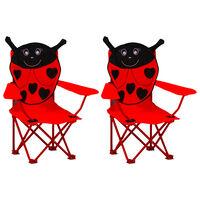 vidaXL Otroški vrtni stoli 2 kosa rdeče blago