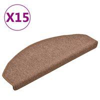 vidaXL Preproge za stopnice 15 kosov rjave 65x24x4 cm